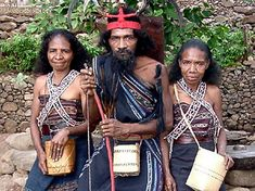 Indonesia, Sumba people wearing exquisite IKAT