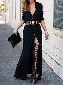 Black Informal Long Sleeve Split Maxi Dress -SheIn(Sheinside)