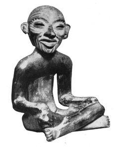 Глиняная фигурка сидящего человека. Теотиуаканская культура