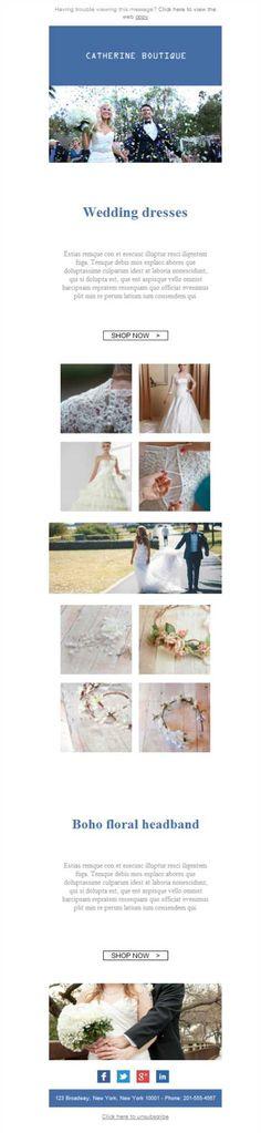El mejor escaparate para tu tienda de vestidos de novia son las plantillas newsletter de Mailify. Gracias a la versión responsive, ¡no hay problema!