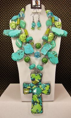 TURQUOISE / GREEN Triple Strand Cross by CayaCowgirlCreations, $175.00