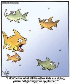 Funny Teenage Fish Piercing Cartoon