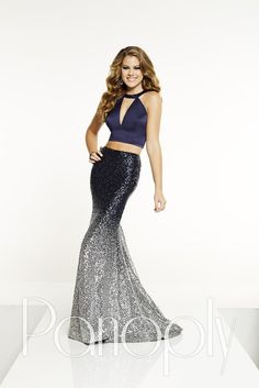 fe981189411 Check out the deal on Panoply 14877 Ombre Sequin 2 Piece Prom Dress at French  Novelty