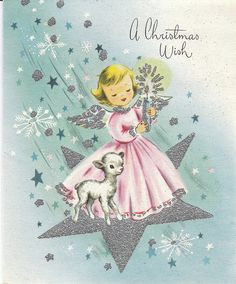 So sweetly pretty. #vintage #Christmas #cards #angels
