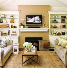 A great mantel shelf installation with a mounted flatscreen tv above the fireplace. mantelsdirect.com