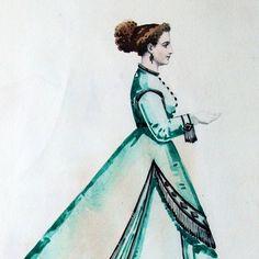 Projets de robes, ensemble de 7 dessins à l'aquarelle d'un dessinateur en costumes et robes (circa 1860-1870)