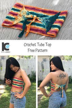 Crochet Bandeau Tops, Crochet Crop Top, Crochet Tops, Crochet Shorts, Crochet Simple, Easy Crochet Patterns, Crochet Bikini Pattern, Swimsuit Pattern, Bag Crochet