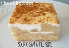 Perfect for afternoon tea - Sour Cream Apple Slice I would try cooking apples for this rather than canned filling. I find the apples in the canned filling hard. Tea Recipes, Apple Recipes, Sweet Recipes, Cake Recipes, Dessert Recipes, Cooking Recipes, Recipies, Coconut Recipes, Dessert Bars