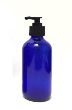 8 oz Cobalt Blue Boston Round Thick Glass Pump Bottle