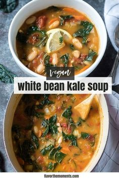 White Bean and Kale Soup is packed with hearty white beans, plenty of veggies and fresh flavor! It's vegan, gluten-free and great for meal prep! #vegan #mealprep #soup Best Soup Recipes, Healthy Soup Recipes, Delicious Dinner Recipes, Chili Recipes, Whole Food Recipes, Vegetarian Recipes, White Bean Kale Soup, Cheesy Potato Soup, Sandwiches For Lunch