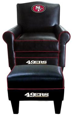 San Francisco 49ers Leather Game Time Chair and Ottoman at www.SportsFansPlus.com                                                                                                                                                     More