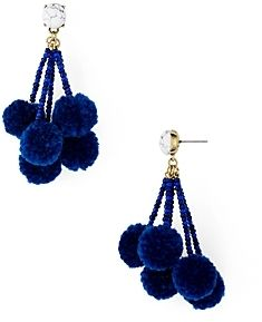 I wasn't sure at first, but now I love these bauble, pom pom earrings with the marble stud || Baublebar Caicos Pom-Pom Drop Earrings