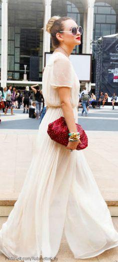 Glamorous, romantic white outfit