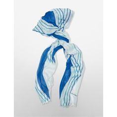 Calvin Klein Women's Geometric Stripe Scarf ($50) ❤ liked on Polyvore featuring accessories, scarves, blue wave, sheer shawl, calvin klein, blue shawl, patterned scarves and blue scarves