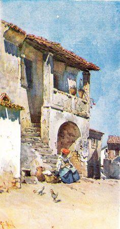 Cottage in Viros, Corfu, by Angelos Giallinas Corfu Greece, Greek Art, Chiaroscuro, Greek Islands, Old Pictures, Amazing Nature, Impressionism, Original Art, Cottage