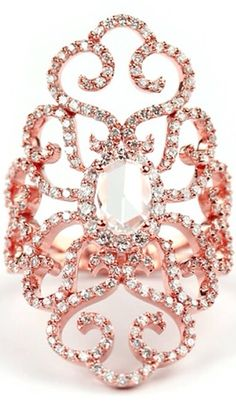 Stunning Rose Cut Diamond Dress Ring Made in 18ct Rose Gold by Steven Stone