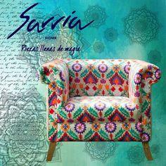 Poltronas importadas de india cómodas y tapizadas con mucha personalidad. #estilosarriahome #chic #vintage #piezasunicas #india