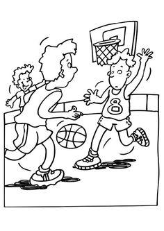 Coloriage de joueurs lors d'un matche de basketball