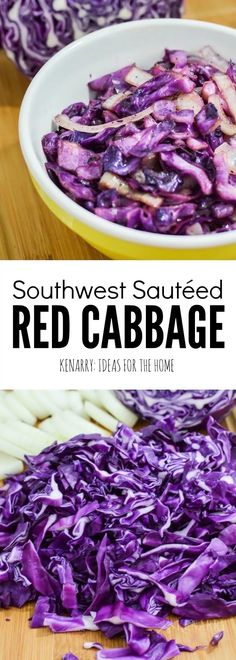 Red Cabbage Recipe: A Tasty Southwest Sautéed Side Dish Southwest Sautéed Red Cabbage is a colorful and delicious side dish. If you love this vegetable, then try this purple or red cabbage recipe. Sauteed Red Cabbage, Buttered Cabbage, Roasted Cabbage, Cabbage Soup, Lamb Recipes, Veggie Recipes, Vegetarian Recipes, Cooking Recipes, Healthy Recipes