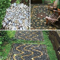 "Outdoor ""rugs: made from rocks. Gorgeous idea for those mossy areas of the yard under trees that'll never look pretty, but make nice seating areas."
