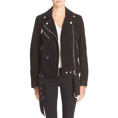 Burberry Brit 'Arnstead' Short Belted Suede Moto Jacket (13.174.110 IDR) ❤ liked on Polyvore featuring outerwear, jackets, black, suede moto jacket, fringe moto jacket, asymmetrical jacket, asymmetrical moto jacket and burberry jacket