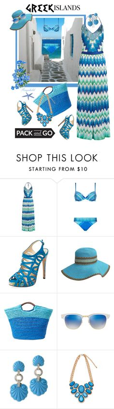 """""""Pack and Go: Greek Islands"""" by ragnh-mjos ❤ liked on Polyvore featuring Missoni Mare, Gottex, Alexandre Birman, Alex + Alex, Ray-Ban and Kenneth Jay Lane"""