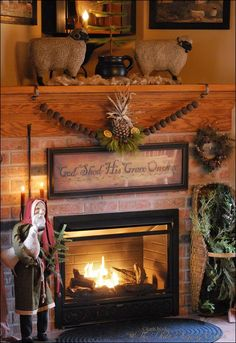 Primitive Christmas / A welcoming home. Primitive Christmas Decorating, Primitive Country Christmas, Prim Christmas, Christmas Mantels, All Things Christmas, Winter Christmas, Vintage Christmas, Christmas Crafts, Christmas Decorations