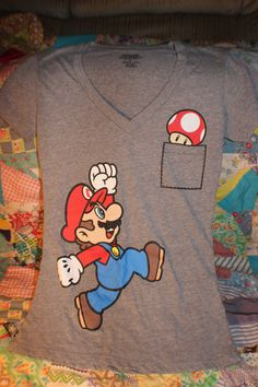 Super Mario Bros. V-Neck T-Shirt Tee Medium by MercedessTreasures