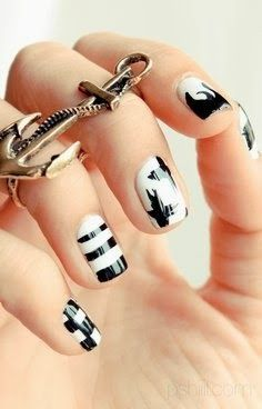 Black And White Manicure Ideas 2014 - Love the ring finger