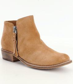GB A-Lister Double Zip Closure Leather Block Heel Booties hO0ZEFKO