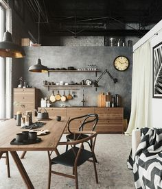 Vintage Industrial Decor Wooden and metal decor, loft design, industrial interior style - Summer Trends 2019 have arrived and if you're thinking about make some changes at your home, here you'll find some of the best good ideas to bright up your plac Industrial Kitchen Design, Vintage Industrial Decor, Industrial Interiors, Interior Design Kitchen, Vintage Decor, Rustic Industrial Kitchens, Industrial Décor, Industrial Living, Interior Design Magazine