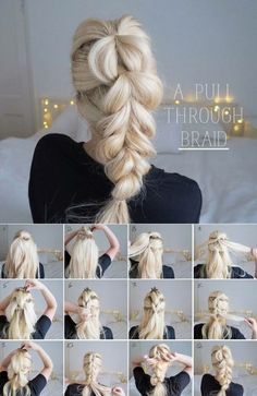 Pulled through braid, gathered to the side. Braided Hair Tutorials, Easy Braided Updo, Updo Hairstyles Tutorials, Braids Easy, Nurse Hairstyles, Simple Braids, Big Braids, Hairstyle Ideas, Work Hairstyles