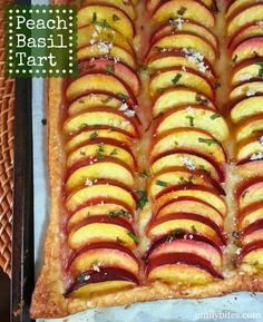 Peach Basil Tart - sweet, bright and fresh, the perfect Summer dessert. Only 120 calories or 3 Weight Watchers points per serving! www.emilybites.com #healthy