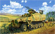 Sd.Kfz. 251/21 Ausf. D 'Drilling' (Schützenpanzerwagen mit Fla MG Drilling). Masao Satake Era un sistema antiaereo armado con tres ametralladoras MG151 de 15mm ó 3 cañones automáticos MG151 de 20mm, como los utilizados en los aviones, instaladas en un pedestal. Cada cañon era alimentado desde una cinta independiente con caja de municion. El alimentador central tenia 400 proyectiles mixtos HE (alto explosivo), trazador y perforante; los laterales contaban con 250 proyectiles. Este vehiculo…