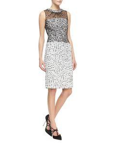 Sleeveless Lace-Overlay Tweed Dress by Oscar de la Renta at Bergdorf Goodman.