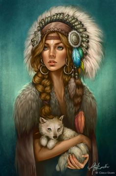 Diamond Painting Indian Woman and Baby Wolf Kit Native Art, Native American Indians, Fantasy Women, Fantasy Art, Fantasy Characters, Female Characters, Illustrations, Illustration Art, 5d Diamond Painting