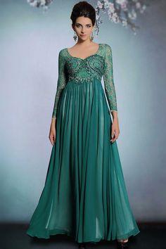 Vintage grün A Linie Bodenlang Chiffon Abendkleid mit lange Ärmeln Persunshop