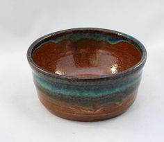 Small stoneware pottery bowl, copper and turquoise glaze (holds 6 oz) by CenteredVessel on Etsy