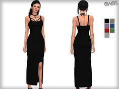The Sims Resource: Harness Detailed Maxi Dress  by Oranos TR • Sims 4 Downloads