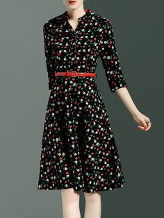 Black Vintage Floral Print Polyester Midi Dress