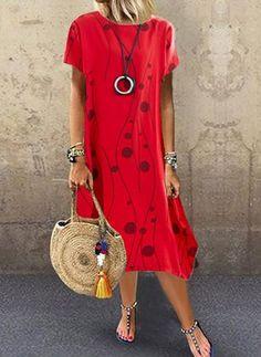 Geometric Tunic Round Neckline Midi Shift, Dress - Red / M Floryday Dresses, Women's Fashion Dresses, Dresses For Sale, Casual Dresses, Dresses Online, Latest Fashion For Women, Womens Fashion, Fashion Online, Affordable Dresses