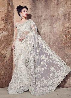 Super White Net Heavy Embroidery Work Wedding Saree