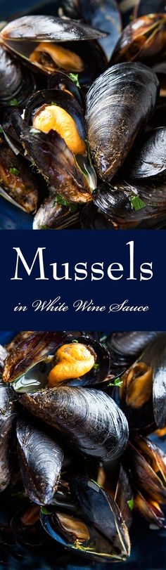 The best way to eat mussels? Steamed in white wine, served in sauce of juices from the mussels, wine, butter, and shallots. Traditional French Mussels Mariniere or Moules Mariniere. So easy to make! On SimplyRecipes.com