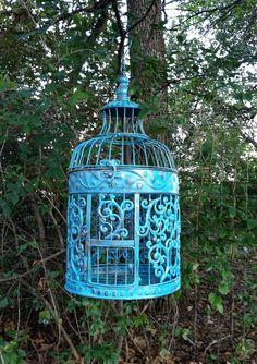 Bold Aqua Victorian Bird Cage / Shabby Chic Round Bird Cage / Beach / Wedding. $49.00, via Etsy.