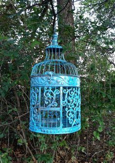 Bold Aqua Victorian Bird Cage / Shabby Chic Round Bird Cage / Beach / Wedding. $49.00, via Etsy.