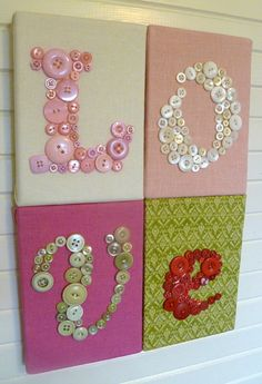 Nursery Button Letter Art Wall Hanging, Custom Children Wall Art, L-O-V-E on 4 Canvases, You Choose Fabrics and Buttons to Match Nursery