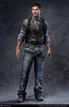 Eric Jackson(Low Poly Model) by Qisheng Luo Apocalypse Character, Apocalypse Art, Cyberpunk Character, Cyberpunk Art, Gangsters, Character Concept, Character Art, Concept Art, D20 Modern