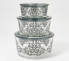 Give your kitchen storage an upgrade with these decorative glass containers and matching plastic lids. They even nest together to save space. From Temp-tations® Large Glass Containers, White Hallway, Nest Design, Gold Kitchen, Storage Sets, Decorative Boxes, Decorative Glass, Kitchen Storage, 3 Piece