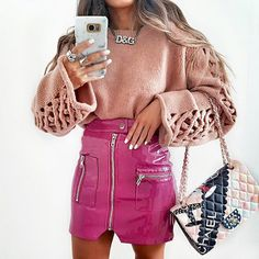 Szykowny 2017 Winter Pink Patent Leather Skirt Cool Moto Pockets Zipper High Waist Skirt Womens Skirts Female Party Clubwear-in Skirts from Women's Clothing & Accessories on Aliexpress.com   Alibaba Group
