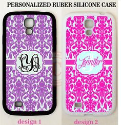 PERSONALIZED PURPLE HOT PINK DAMASK MONOGRAM Case For Samsung Galaxy S7 S6 NOTE #UnbrandedGeneric